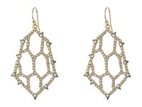 Alexis Bittar Crystal Encrusted Honeycomb Wire W Spike Accent Earrings Ruthenium W 14K Gold Earring