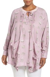 Melissa Mccarthy Seven7 Plus Size Women's Pintuck Nest Print Pocket Blouse Mauve Shadow