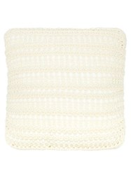 Brunello Cucinelli Small Ribbed Lace Knit Cotton Cushion Light Beige