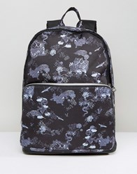 Asos Backpack With Dragon Print And Faux Leather Trims Black