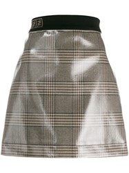 Fendi Vernished Checked Skirt Nude And Neutrals