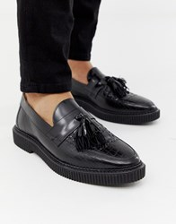 House Of Hounds Kain Creeper Tassel Loafers In Black Croc
