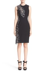 Versace Women's Lace Trim Stretch Cady Sheath Dress