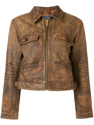 Polo Ralph Lauren Zipped Leather Jacket Brown