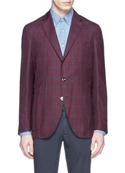 Boglioli 'Dover' Check Wool Linen Silk Blazer Red