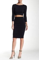 David Lerner Mesh Side Midi Skirt Black