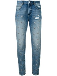 Zoe Karssen Heart Stud Detail Jeans Women Cotton 27 Blue