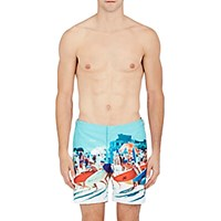 Orlebar Brown Men's Beach Print Bulldog Swim Trunks Turquoise