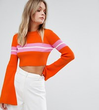Missguided Flare Sleeve Stripe Cropped Jumper Multi