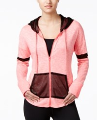 Material Girl Active Juniors' Mesh Trim Zipper Front Hoodie Only At Macy's Pink