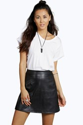 Boohoo Faux Leather A Line Mini Skirt Black
