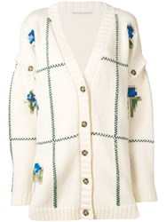 Marco De Vincenzo Pixelated Floral Intarsia Cardigan Nude And Neutrals