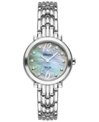 Seiko Women's Solar Tressia Diamond Accent Stainless Steel Bracelet Watch 23Mm Sup353 No Color