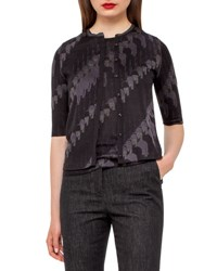 Akris Jockey Jacquard Cardigan Black Black Lurex
