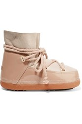 Inuikii Shearling Lined Smooth And Glossed Leather Boots Beige