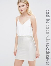 Tfnc Petite 2 In 1 Cami Strap Pencil Dress With Metallic Detail Skirt White Gold