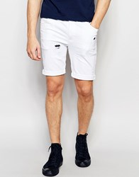 Asos Super Skinny Denim Shorts In White With Rip And Repair White