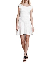 Julia Jordan Textured Wavy Stripe A Line Dress Off White