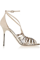 Jimmy Choo Legia Suede And Metallic Leather Sandals