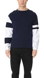 Marni Oversized Long Sleeve Tee With Contrast Patches Blue Navy White