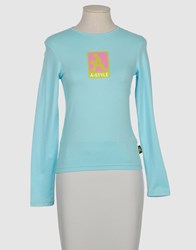 A Style Topwear Long Sleeve T Shirts Women Sky Blue