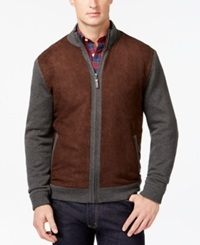 Tasso Elba Faux Suede Full Zip Mock Neck Jacket Only At Macy's