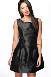 Boohoo Maddie Lace Applique Prom Dress Black