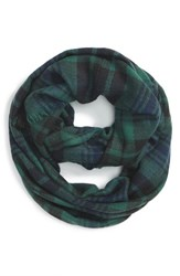 Junior Women's Bp. 'Heritage' Plaid Infinity Scarf Green Navy Green