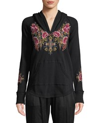 Johnny Was Petite Axton Thermal Pullover Hoodie With Embroidery Black