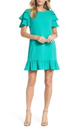 Charles Henry Tiered Ruffle Shift Dress