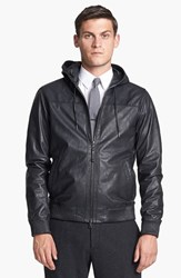 Vince Men's Hooded Leather Bomber Jacket