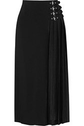 A.L.C. Booth Buckle Embellished Crepe Midi Skirt Black