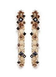 Lanvin 'Chain Lumiere' Crystal Honeycomb Chain Drop Earrings Metallic