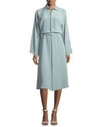 Ralph Lauren Karen Long Sleeve Belted Silk Shirtdress Blue
