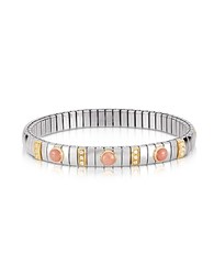 Nomination Golden Stainless Steel Women's Bracelet W Pink Corals And Cubic Zirconia Silver