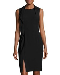 Tahari By Arthur S. Levine Ruffled Crepe Sheath Dress Black