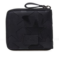 Valentino Camo Stars Leather And Canvas Zip Wallet Black