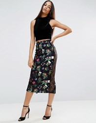 Asos Pencil Skirt In Floral Print With Lace Trim Multi