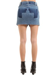 Vetements Raw Cut Cotton Denim Mini Skirt Blue