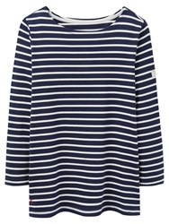 Joules Harbour Stripe 3 4 Sleeve Jersey Top Navy White