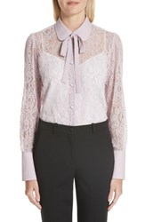 Valentino Tie Neck Chantilly Lace Shirt Lilac