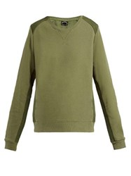 The Upside Twill Panelled Cotton Sweatshirt Khaki