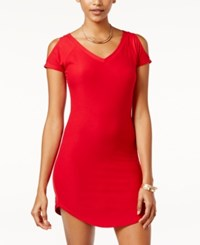 Planet Gold Juniors' Cold Shoulder Bodycon Dress Red