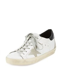 Golden Goose Distressed Leather Sneaker White Pattern