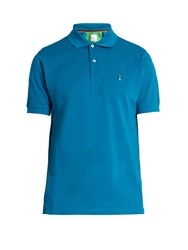Paul Smith Mushroom Embroidered Cotton Polo Shirt Blue