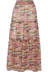 Missoni Tiered Printed Silk Georgette Maxi Skirt Multi