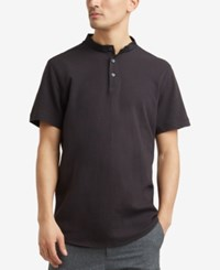 Kenneth Cole Reaction Men's Waffle Knit Band Collar Henley Black
