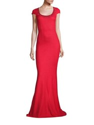 St. John Sequin Embellished Rumba Knit Gown Hibiscus