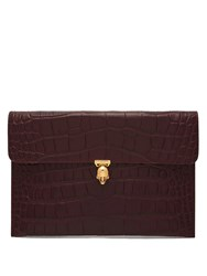 Alexander Mcqueen Skull Crocodile Effect Leather Envelope Clutch Burgundy
