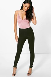 Boohoo 2 Pack Wet Look And Jersey Leggings Black